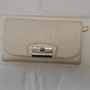 Coach White Wallet with Checkbook folder